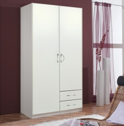 Klasická skříň Sprint - skříň 90 cm,2x dveře,3x police,1x tyč (alpská bílá)
