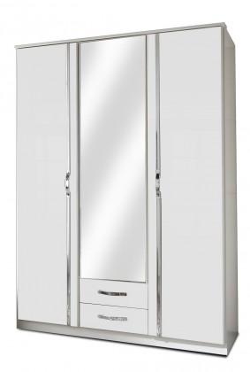Klasická skříň Trio - Skříň, 3x dveře, 1x tyč (perleťová bílá/alpská bílá)
