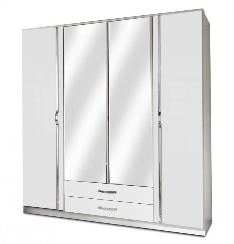 Klasická skříň Trio - Skříň, 4x dveře, 2x tyč (perleťová bílá/alpská bílá)