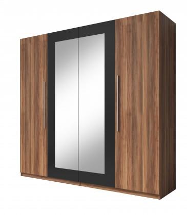 Klasická skříň Vera - Skříň 228x214x58 cm, klasické dveře, zrcadlo, ořech