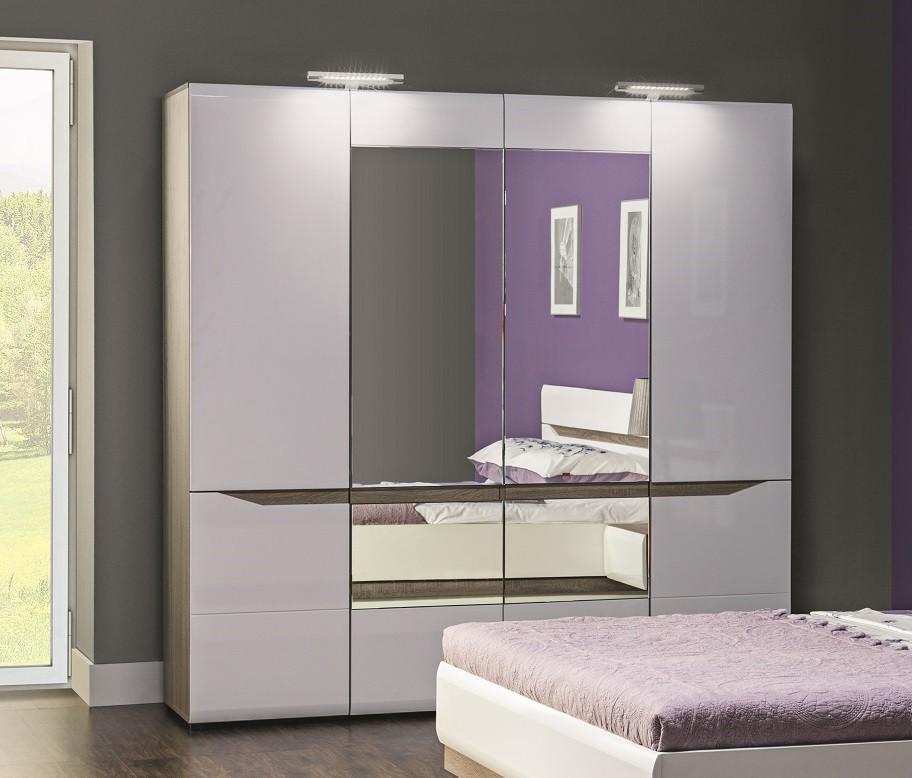 Klasické Leone - Skříň, 4 dveře, zrcadlo (dub trufel, bílá lesk)