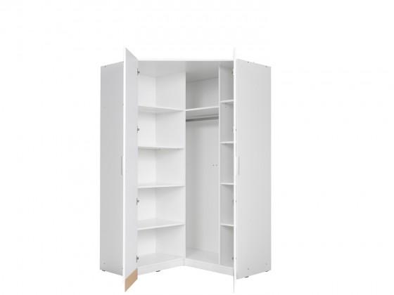 Klasické Rohová skříň Snow (bílá/bílá vysoký lesk)
