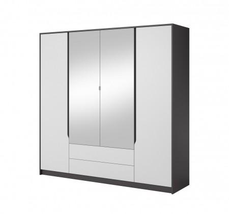 Klasické Šatní skříň Klaudia - 200x202x57 cm (grafit/bílá)