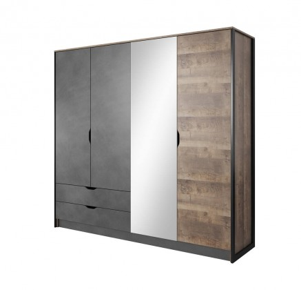 Klasické Šatní skříň Laura - 220x204x56 cm (dub grande pískový/matera)