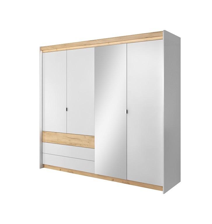 Klasické Šatní skříň Valeria 220x203x57 cm (dub craft/bílá)