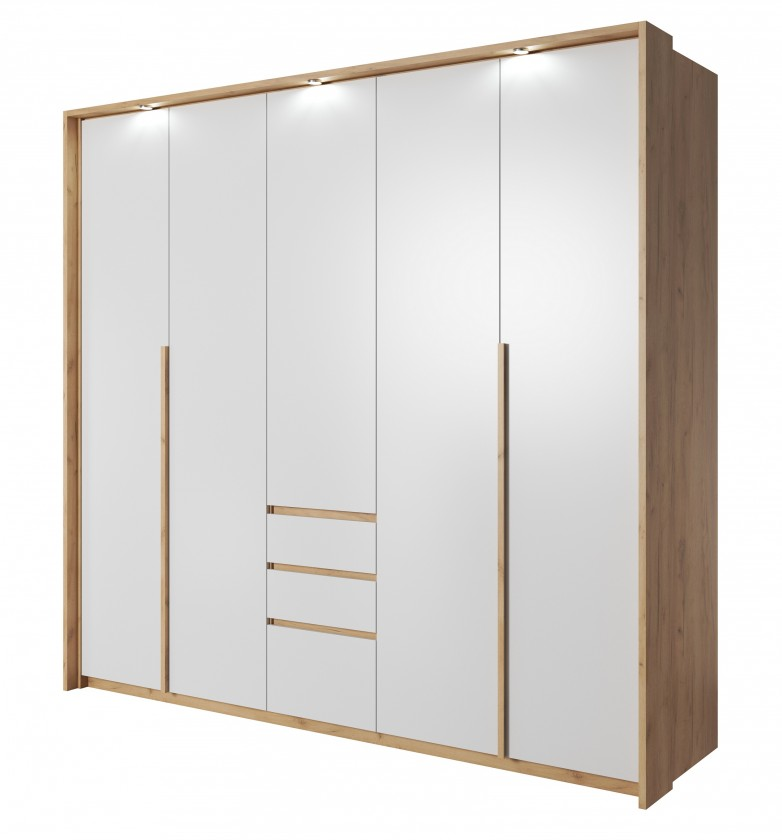 Klasické Šatní skříň Xelo 230 cm (dub zlatý/bílá)