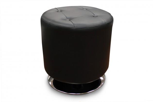 Klasické taburety Kožený taburet Dora kruh černá