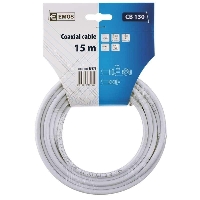 Koaxiální kabely, konektory Emos kabel koaxiální CB130, 15m S5375