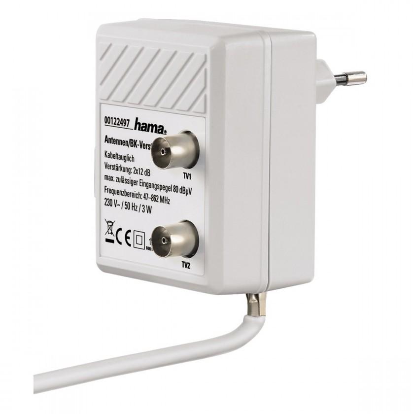 Koaxiální kabely, konektory Zásuvkový anténní rozbočovač se zesilovačem Hama 122497
