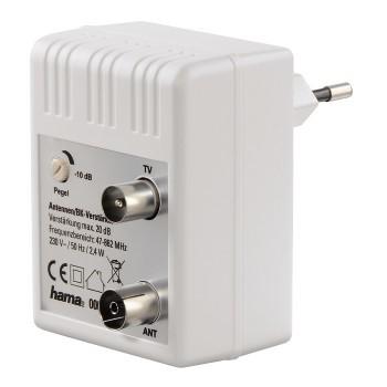 Koaxiální kabely, konektory Zásuvkový anténní zesilovač Hama 122498, regulovatelný