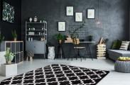 Koberec Black & white (80x150 cm, černá)