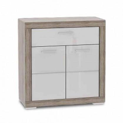 Komoda Atrium - Komoda, 2x dveře (dub šedý sonoma/bílá lesk)