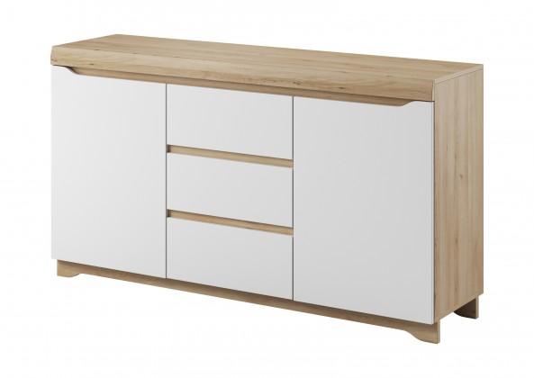 Komoda Avallon - Obývací komoda, 2 dvířka, 3 zásuvky (buk ibsen/bílá)