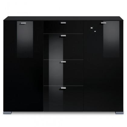 Komoda Gallery HG14 (černá/černý lak HG)