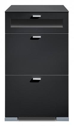 Komoda Gallery Plus 12 (černá/sklo černé)