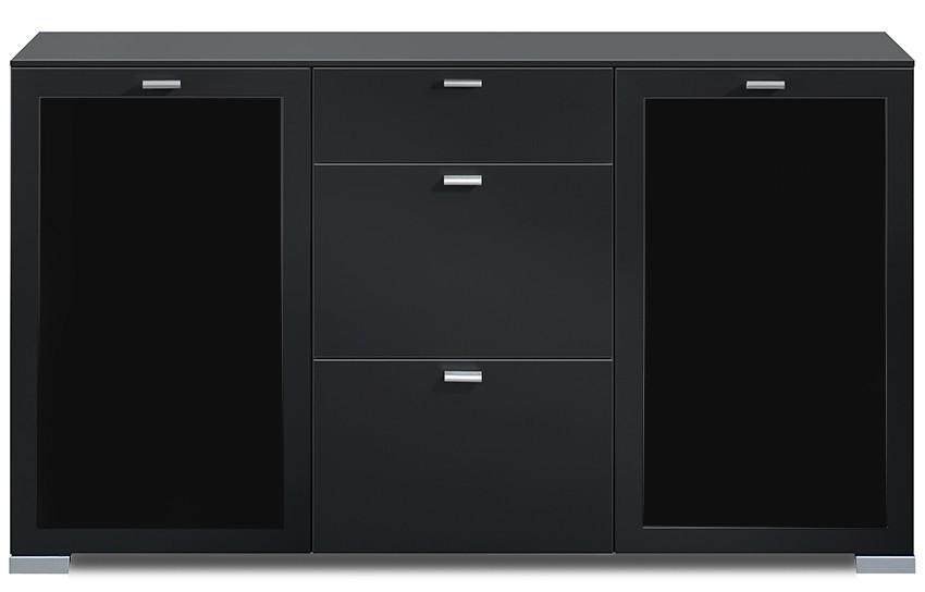 Komoda Gallery Plus 17 (černá/sklo černé)