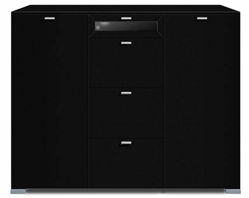 Komoda Gallery Plus 7 (černá/sklo černé)