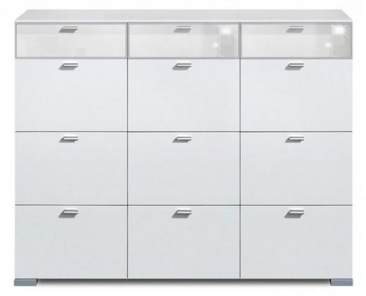 Komoda Gallery Super Plus 10 - Komoda (bílá/sklo číré bílé)