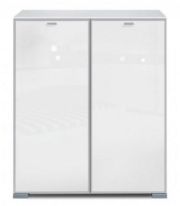 Komoda Gallery Super Plus 3 - Komoda (bílá/sklo číré bílé)