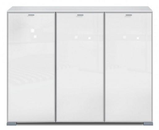 Komoda Gallery Super Plus 6 - Komoda (bílá/sklo číré bílé)
