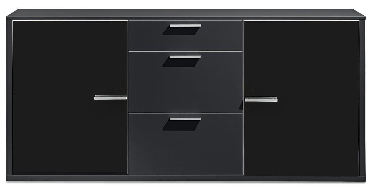 Komoda Game - komoda, 181 cm (černá/sklo černé)
