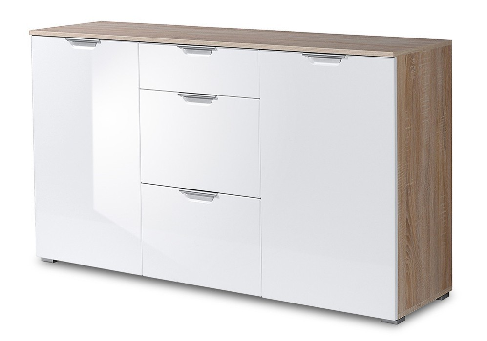 Komoda GW-Eva - skříňka, 2x dveře, 1x polička (dub sonoma/bílá)