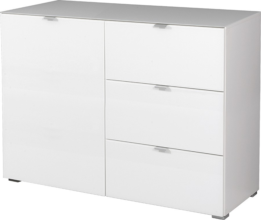 Komoda GW-Primera - skříňka, 1x dveře, 3x šuplík (bílá)