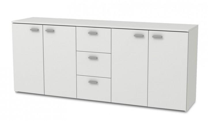 Komoda Hugo - Komoda, 4x dveře, 3x zásuvka (bílá)