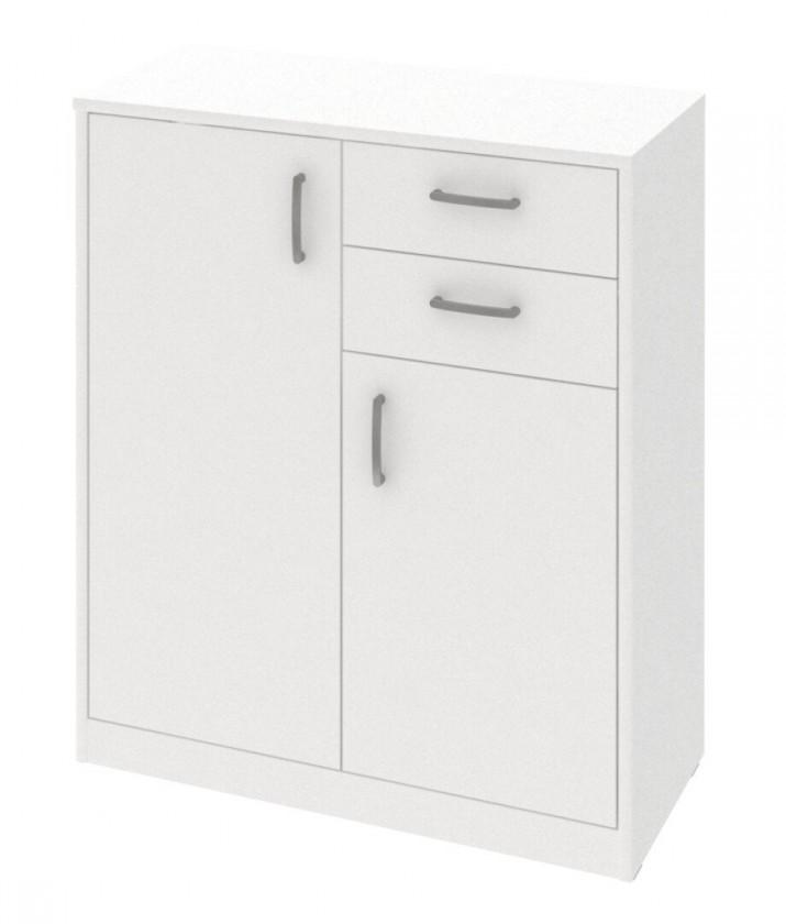 Komoda Kobo - komoda, 2 dveře, 2 zásuvky, 2 police (bílá arctic)