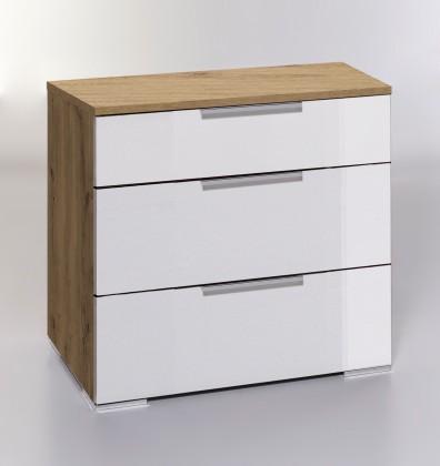 Komoda Komoda LevelUp D - 3x zásuvka (bílá VL, dub planked)