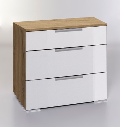 Komoda LevelUp D - Komoda, 3x zásuvka (bílá VL, dub planked)