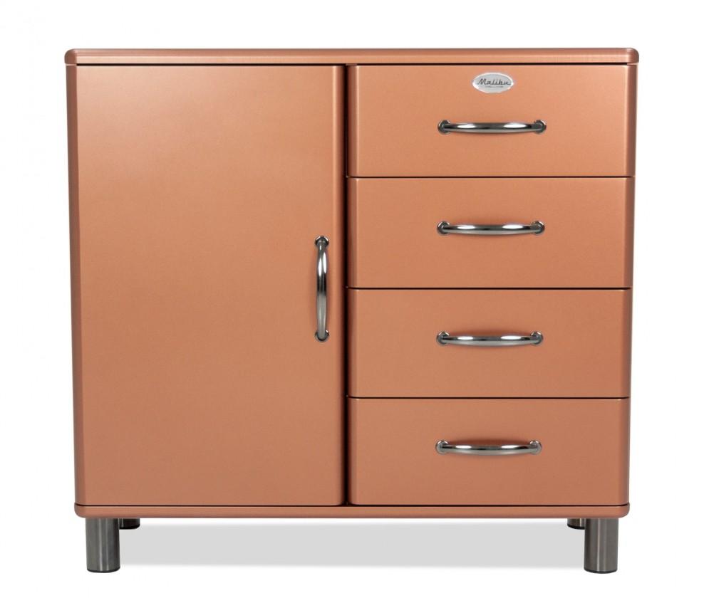 Komoda Malibu - Komoda (měděná, 1x dveře, 4x zásuvka)