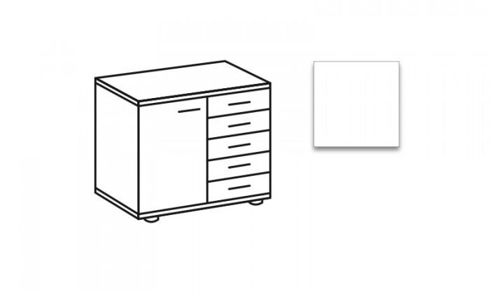 Komoda Match Up, 1x dveře, 5x zásuvka (alpská bílá)