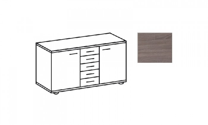 Komoda Match Up - Komoda, 2x dveře, 5x zásuvka