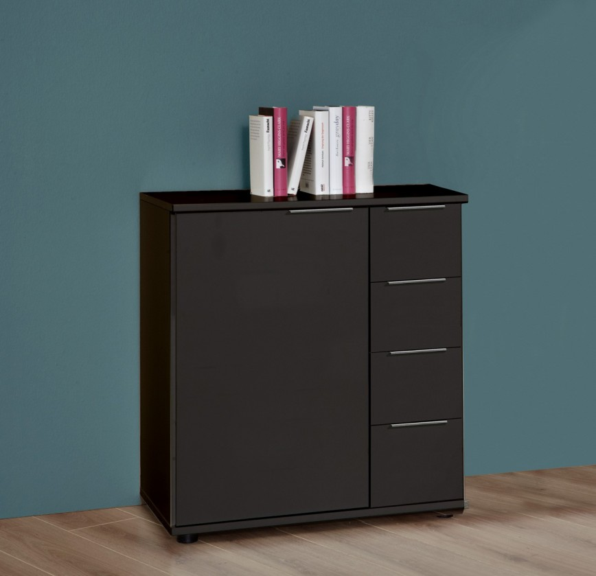 Komoda Medina - Komoda, 4x zásuvka, 1x dveře (lava černá)