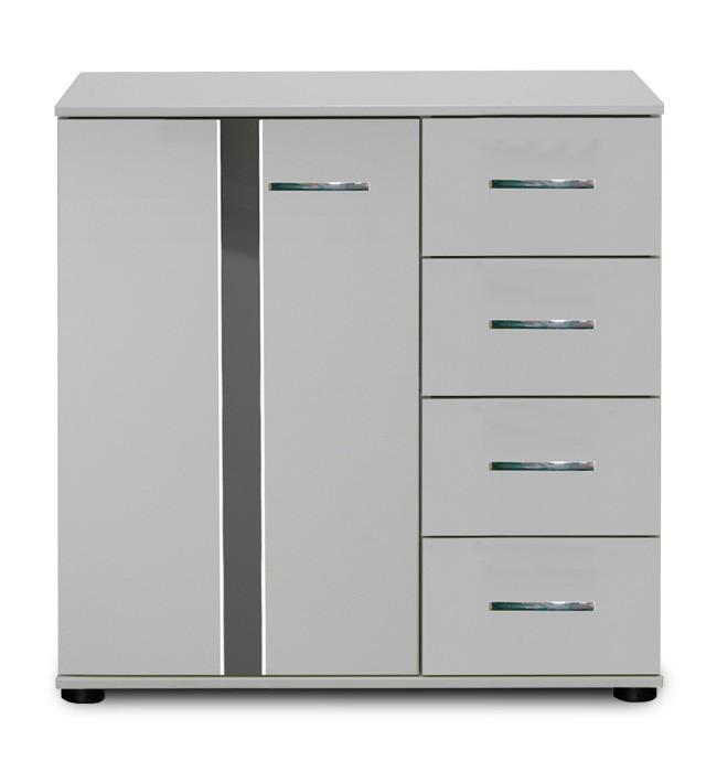Komoda Nizza - komoda,1x dveře,4x zásuvka (alpská bílá+šedá vysoký lesk)