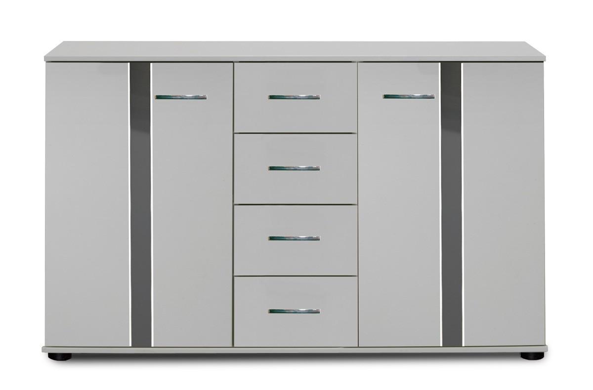 Komoda Nizza - komoda,2x dveře,4x zásuvka (alpská bílá+šedá vysoký lesk)