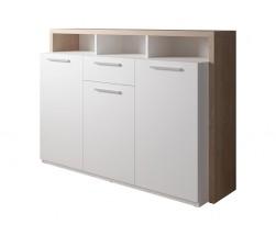 Komoda Segan (3x dveře, zásuvka, 3x police, dub sonoma, bílá)