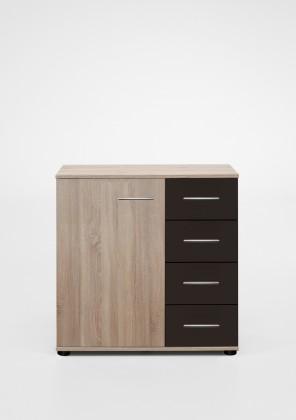 Komoda Vicenza - Komoda, 4x šuplík, 1x dveře (dub/lava černá)