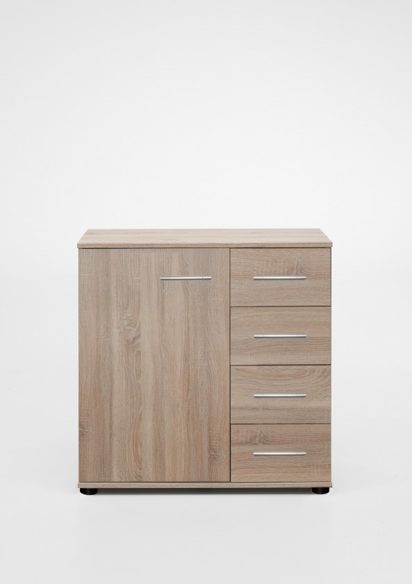 Komoda Vicenza - Komoda, 4x šuplík, 1x dveře (dub)