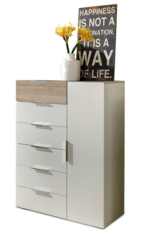 Komoda Viva - Komoda, 6x zásuvka, 1x dveře (dub san remo, alpská bílá)