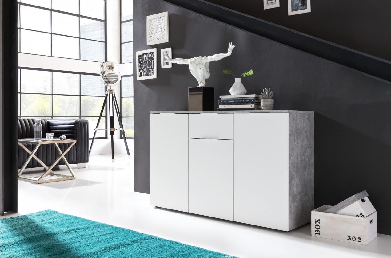 Komoda Viva - Obývací komoda střední (cement šedá/bílá)