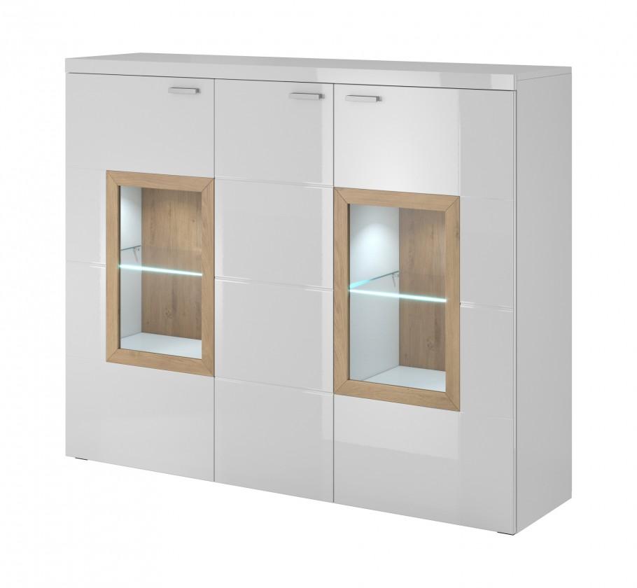 Komody Box In - Komoda, sklo (bílý korpus/bílý front, dub okraje)