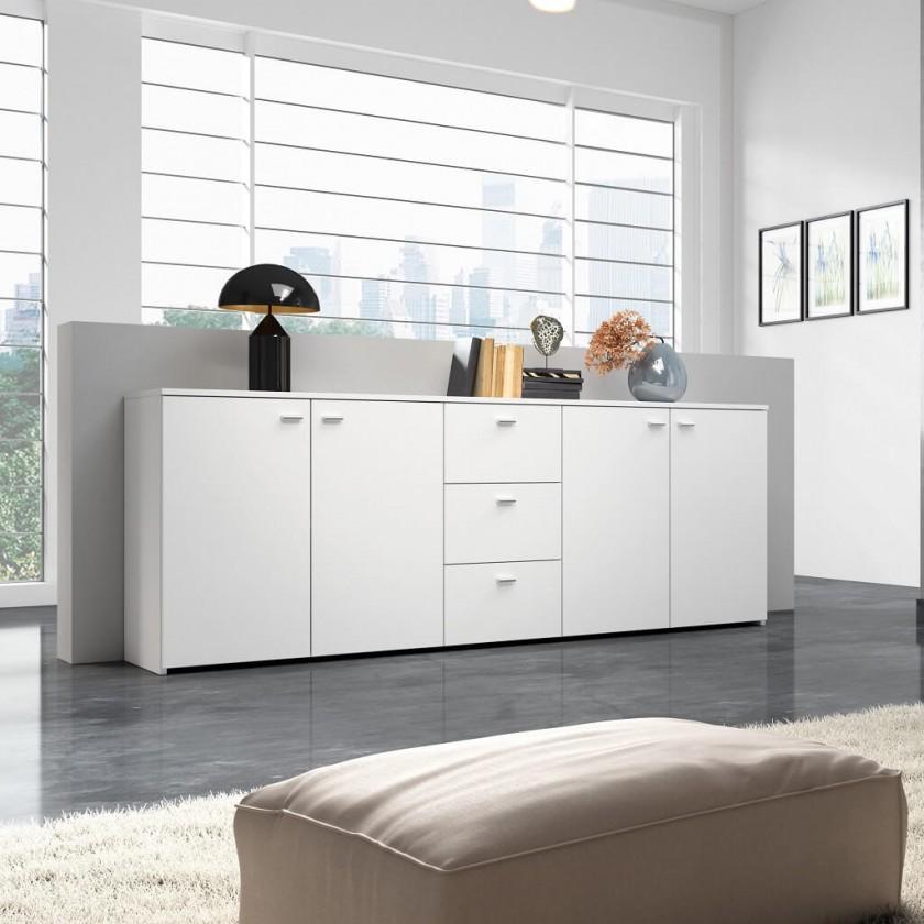 Komody Hugo - Komoda, 4x dveře, 3x zásuvka (bílá)