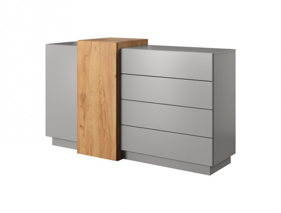 Komody Komoda Duras (2x dveře, 4x zásuvka, lamino, šedá/hnědá)