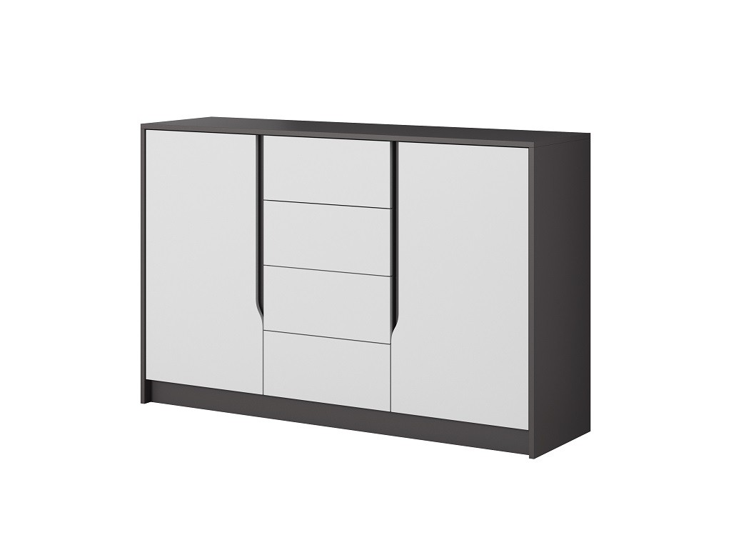 Komody Komoda Klaudia (4x zásuvka, 2x dveře, grafit, bílá)