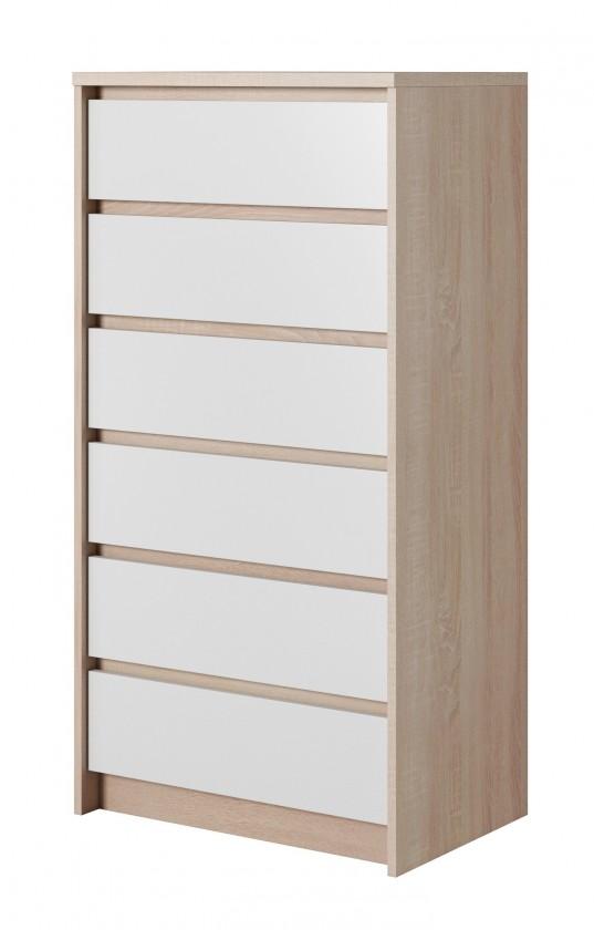Komody Komoda Xelo - 62,3x121,3x40,5 cm sonoma, bílá