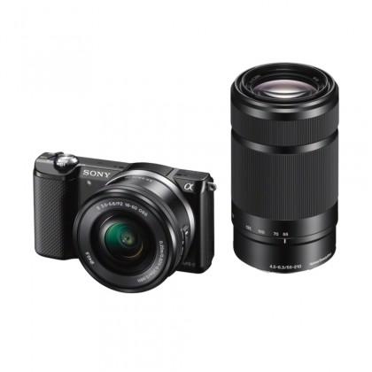 Kompakt s výměnným objektivem Sony Alpha 5000, černý + 16-50mm a 55-210mm (ILCE5000YB.CEC)