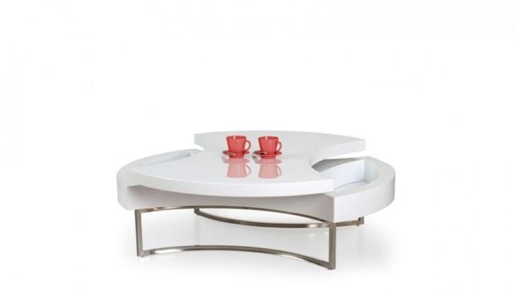 Konfereční stolek - dřevěný Aurea (Bílá/Chrom)