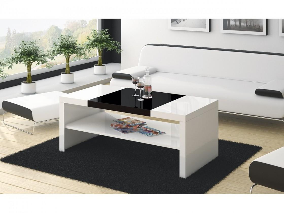 Konfereční stolek - dřevěný Duo (bílá lesk+černá lesk)